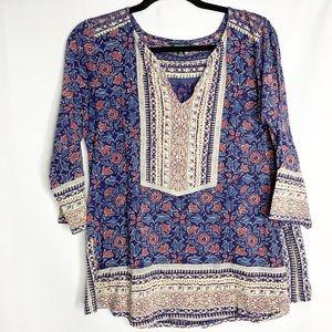 Lucky brand boho blouse 1x blue floral